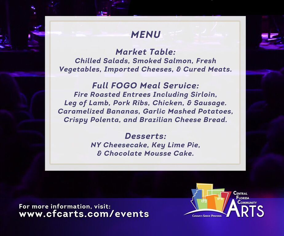 Night Out for the Arts Menu
